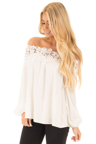 Ivory Off the Shoulder Lace Floral Top with Bell Sleeves front close up