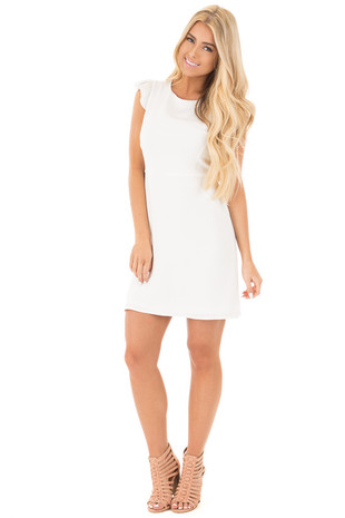 Off White Short Ruffle Sleeve Dress front full body