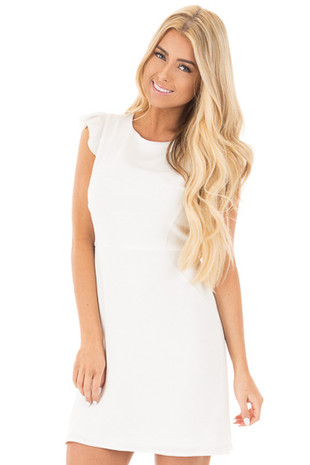 Off White Short Ruffle Sleeve Dress front close up