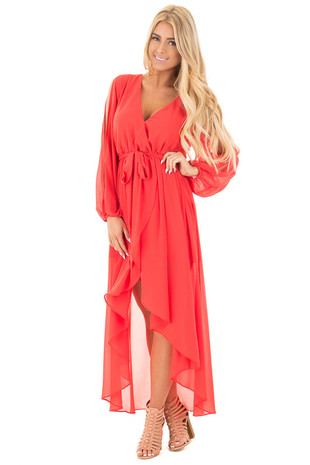 Tomato Chiffon Hi Low Maxi Dress with Waist Tie Detail front full body