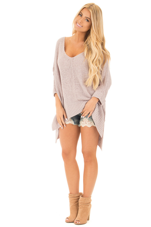 Cloud Grey Loose Knit Oversized Comfy V Neck Sweater front full body
