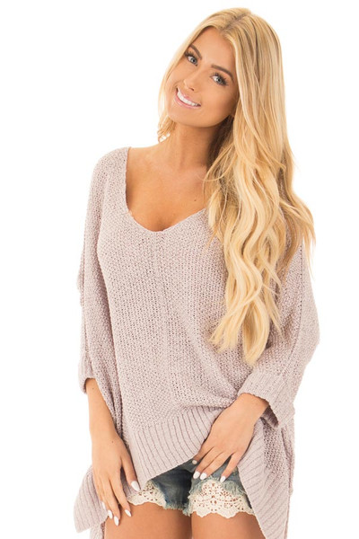 Cloud Grey Loose Knit Oversized Comfy V Neck Sweater front close up