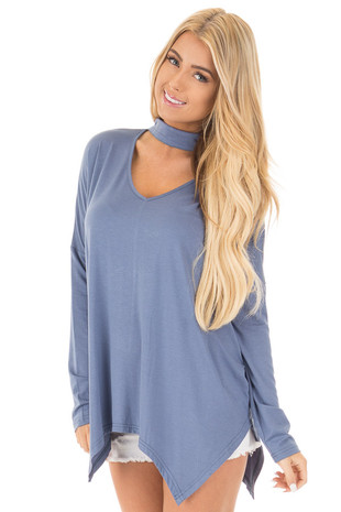 Denim Blue Jersey Knit Key Hole Long Sleeve Top front close up
