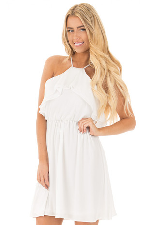 Off White Spaghetti Strap Flowy Chiffon Dress front close up