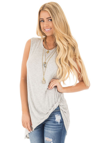 Heather Grey Tank Top with Asymmetrical Twist Hemline front close up