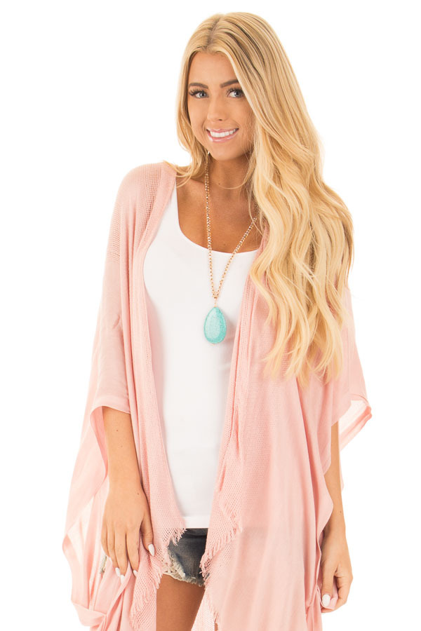 Blush Open Grid Frayed Trim Kimono with Armholes front close up