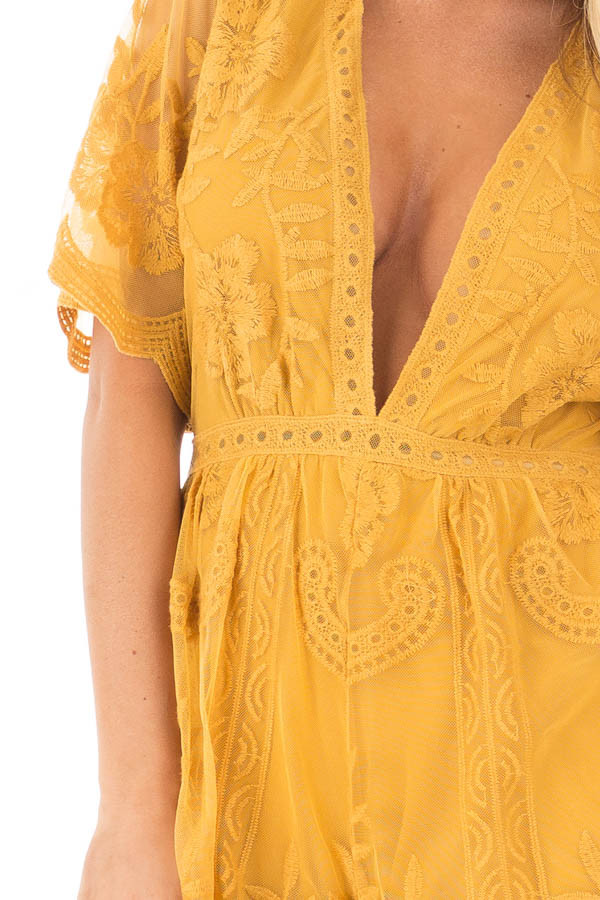 Dandelion Yellow Romper with Detailed Sheer Lace Back detail