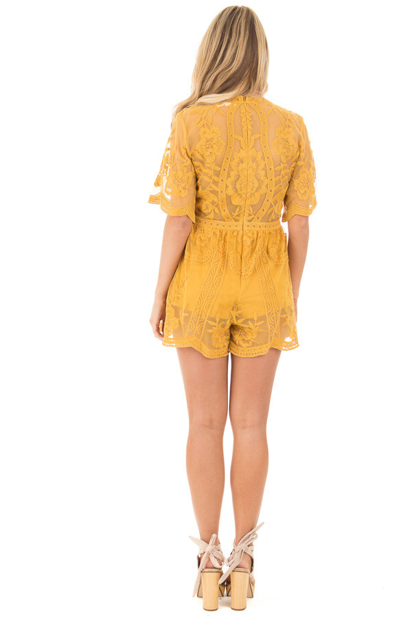 Dandelion Yellow Romper with Detailed Sheer Lace Back back full body