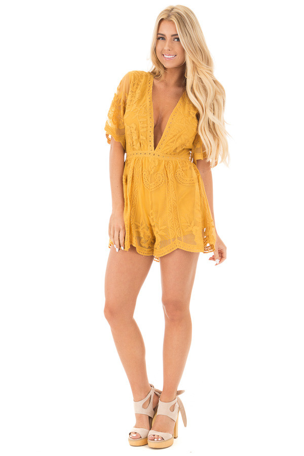 Dandelion Yellow Romper with Detailed Sheer Lace Back front full body