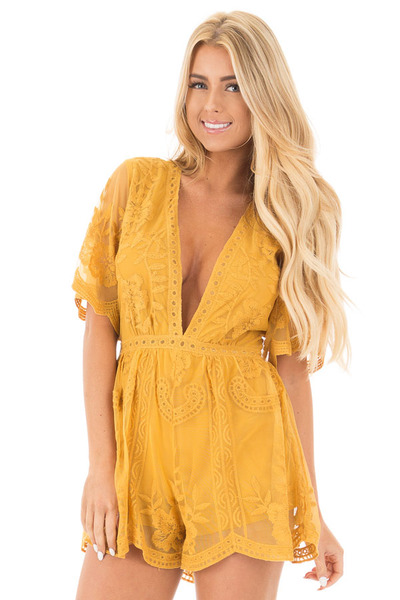 Dandelion Yellow Romper with Detailed Sheer Lace Back front close up