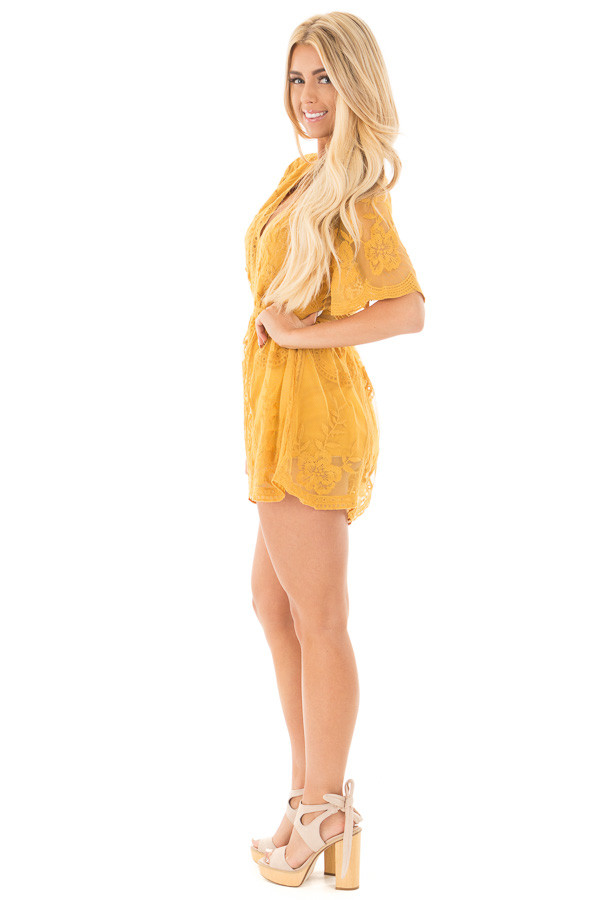 Dandelion Yellow Romper with Detailed Sheer Lace Back side full body