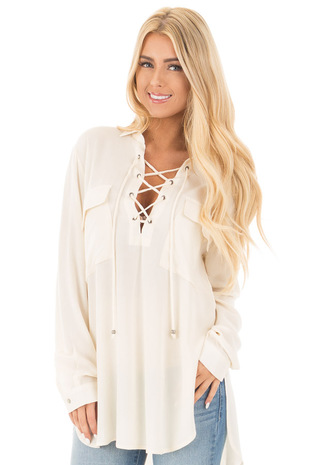 Cream Crinkle Lace Up Top with Breast Pockets and Side Slits front close up