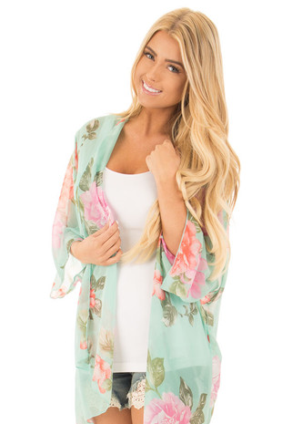 Mint Kimono with Fuchsia and Blush Floral Print front close up