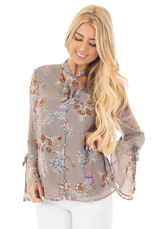 Stone Grey Floral Print Button Up Blouse with Bell Sleeves front close up