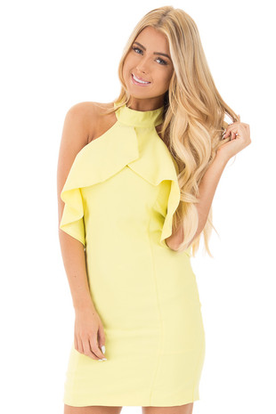 Lemonade Frill Halter Neck Fitted Dress front close up