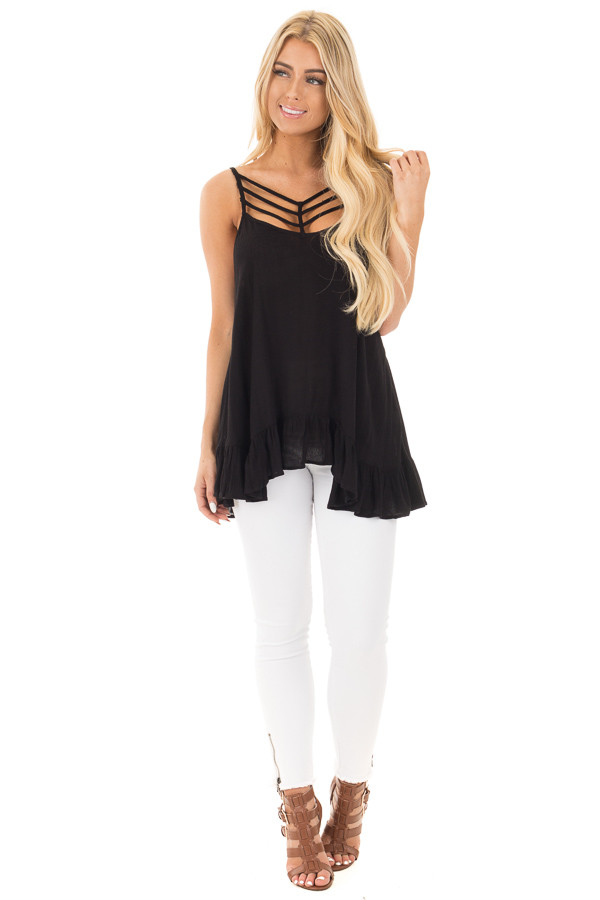 Black Crepe Tank Blouse with Caged Neckline and Ruffle Hem front full body