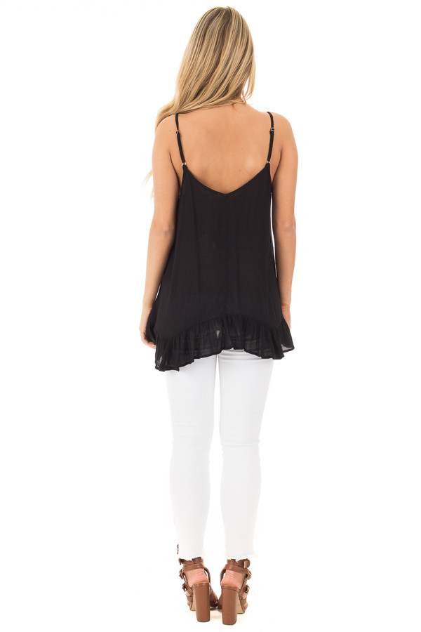 Black Crepe Tank Blouse with Caged Neckline and Ruffle Hem back full body