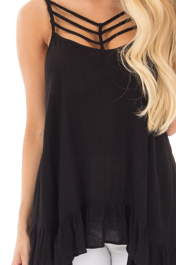 Black Crepe Tank Blouse with Caged Neckline and Ruffle Hem detail
