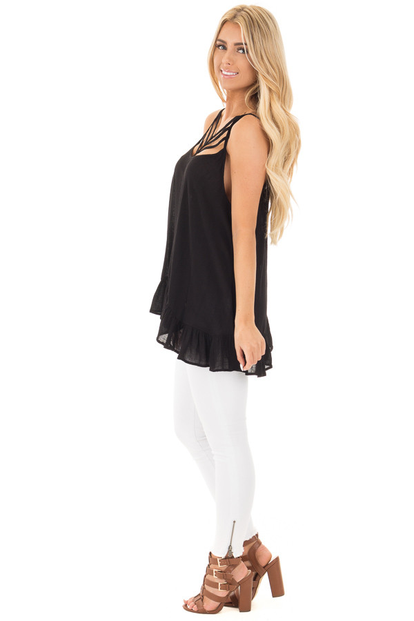 Black Crepe Tank Blouse with Caged Neckline and Ruffle Hem side full body