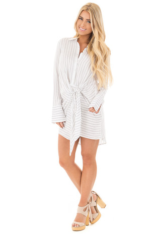 White and Black Button Up Long Sleeve Front Tie Dress front full body