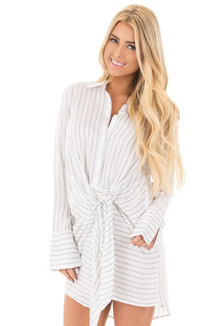 White and Black Button Up Long Sleeve Front Tie Dress front close up