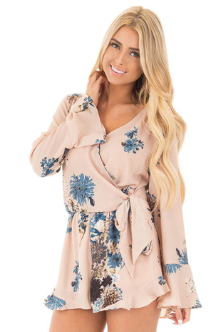 Nude Wrap Style Romper with Dusty Blue Floral Print front close up