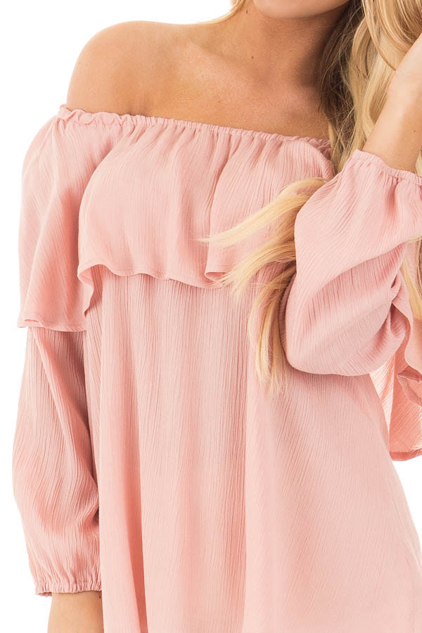Blush Long Sleeve Ruffle Off the Shoulder Top with Bell Sleeves detail