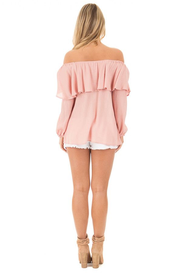 Blush Long Sleeve Ruffle Off the Shoulder Top with Bell Sleeves back full body