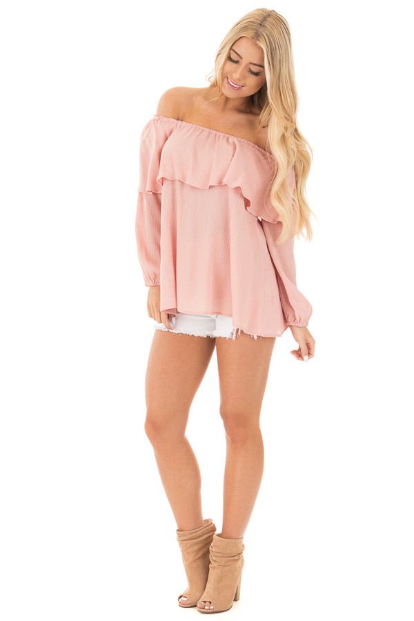 Blush Long Sleeve Ruffle Off the Shoulder Top with Bell Sleeves front full body