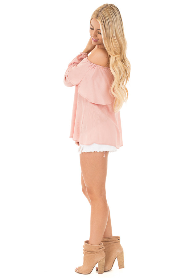 Blush Long Sleeve Ruffle Off the Shoulder Top with Bell Sleeves side full body