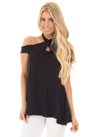 Black Cold Shoulder Modern Halter Neckline Top front close up