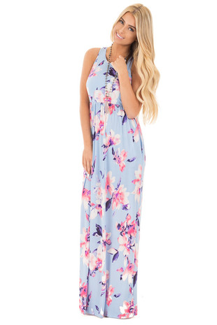 Light Blue Racerback Maxi with Hidden Pockets front full body