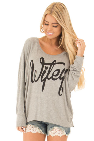 Heather Grey Wifey Shirt with Peek a Boo Back front close up