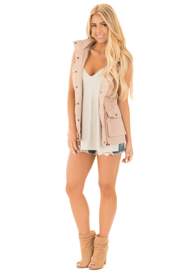 Blush Sleeveless Zip Up Vest with Pockets front full body