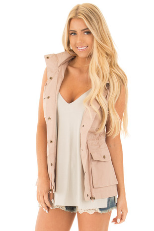 Blush Sleeveless Zip Up Vest with Pockets front close up