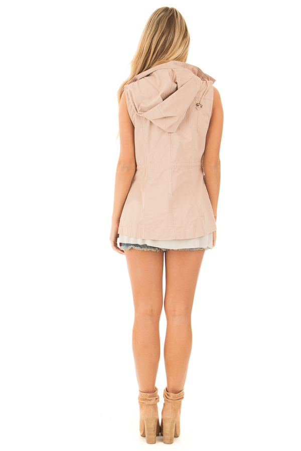 Blush Sleeveless Zip Up Vest with Pockets back full body