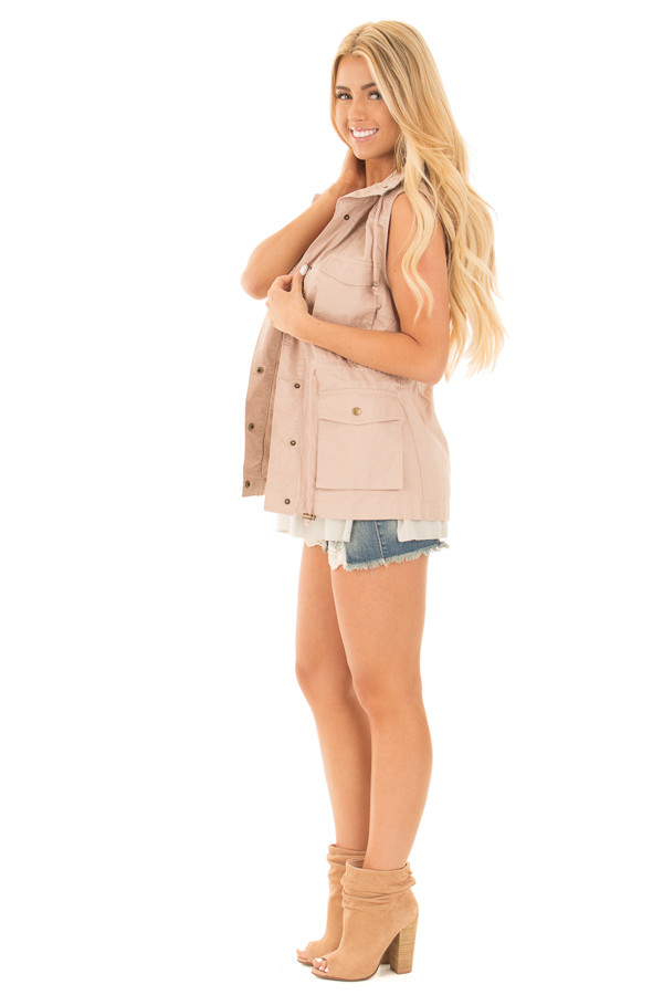 Blush Sleeveless Zip Up Vest with Pockets side full body