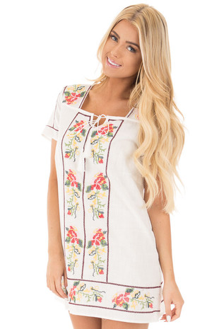 Ivory Cross Stitched Embroidered Floral Tassel Tunic front close up