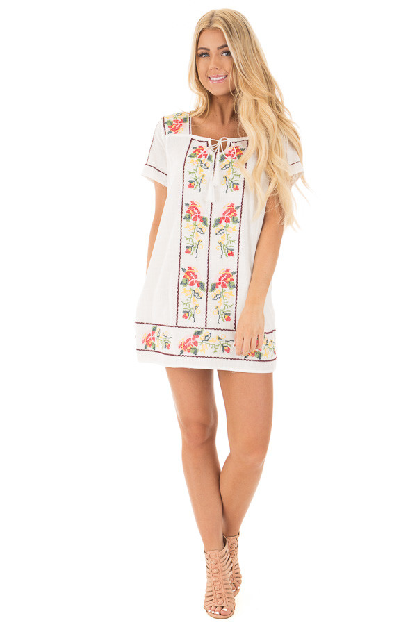 Ivory Cross Stitched Embroidered Floral Tassel Tunic front full body