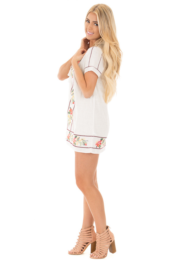 Ivory Cross Stitched Embroidered Floral Tassel Tunic side full body