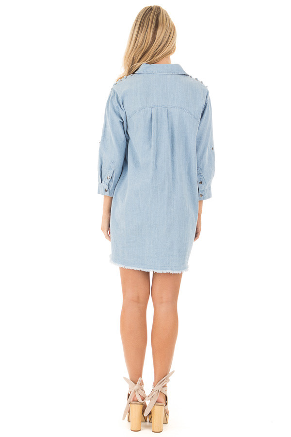 Denim Blue Long Button Down Tunic with Rolled Sleeves back full body