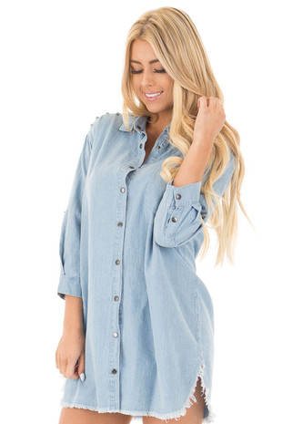 Denim Blue Long Button Down Tunic with Rolled Sleeves front close up