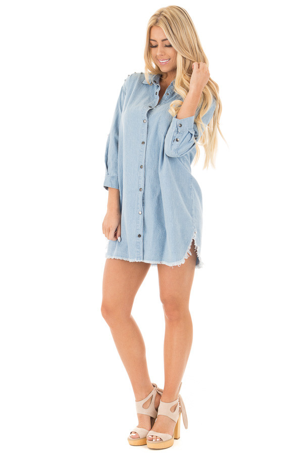 Denim Blue Long Button Down Tunic with Rolled Sleeves front full body