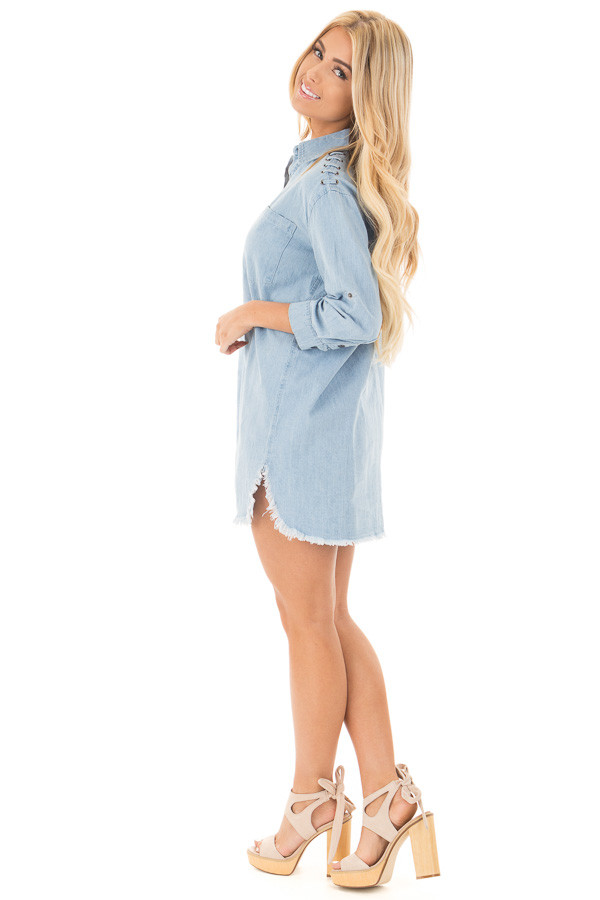 Denim Blue Long Button Down Tunic with Rolled Sleeves side full body