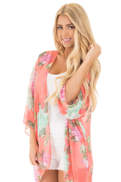Coral Chiffon Kimono with Mint Floral Print front close up