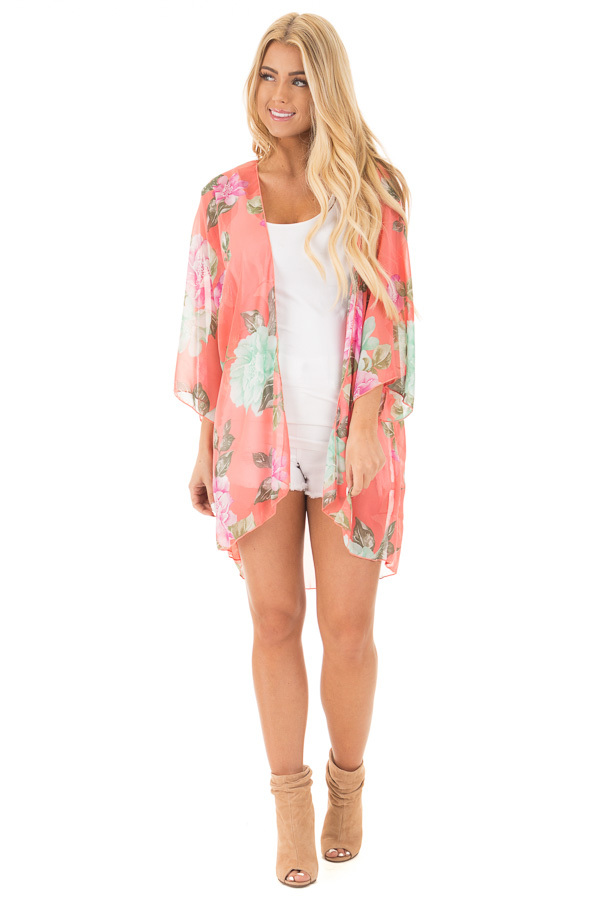 Coral Chiffon Kimono with Mint Floral Print front full body
