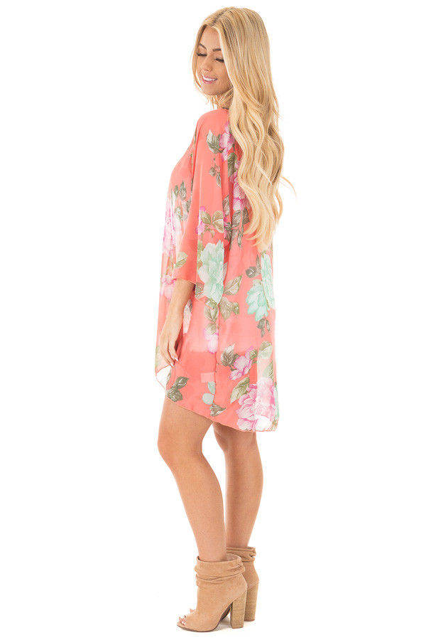 Coral Chiffon Kimono with Mint Floral Print side full body