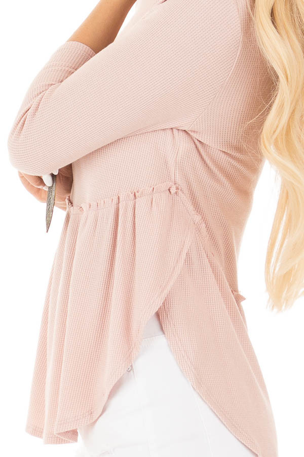 Blush Round Neck 3/4 Sleeve Baby Doll Blouse detail