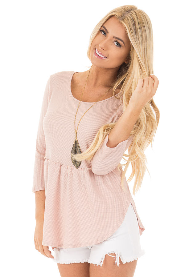Blush Round Neck 3/4 Sleeve Baby Doll Blouse front close up