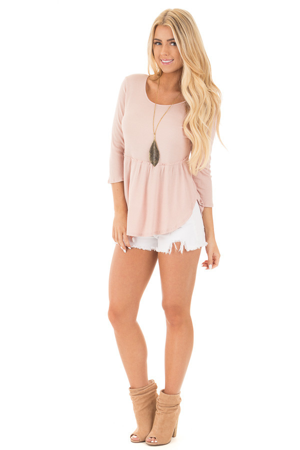 Blush Round Neck 3/4 Sleeve Baby Doll Blouse front full body